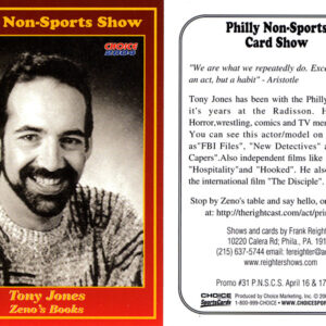 """#31 Tony Jones Zeno's Books (note: A variation of this card exists with the incorrect spelling """"Toney Jones"""" printed on the card front. Both cards were printed in the same amount.)"""