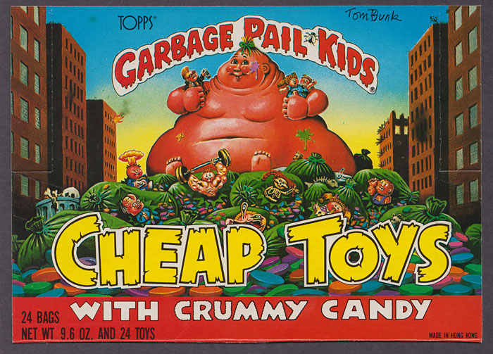 Garbage Pail Kids Cheap Toys box art by Tom Bunk