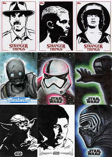 Stranger Things and Star Wars sketch cards by Chenduz